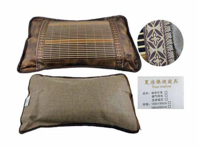 Шелковая двухсторонняя подушка с кристаллами турмалина