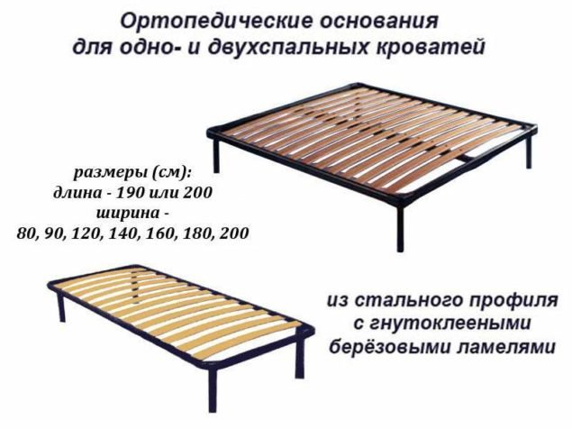 Размеры ортопедических каркасов
